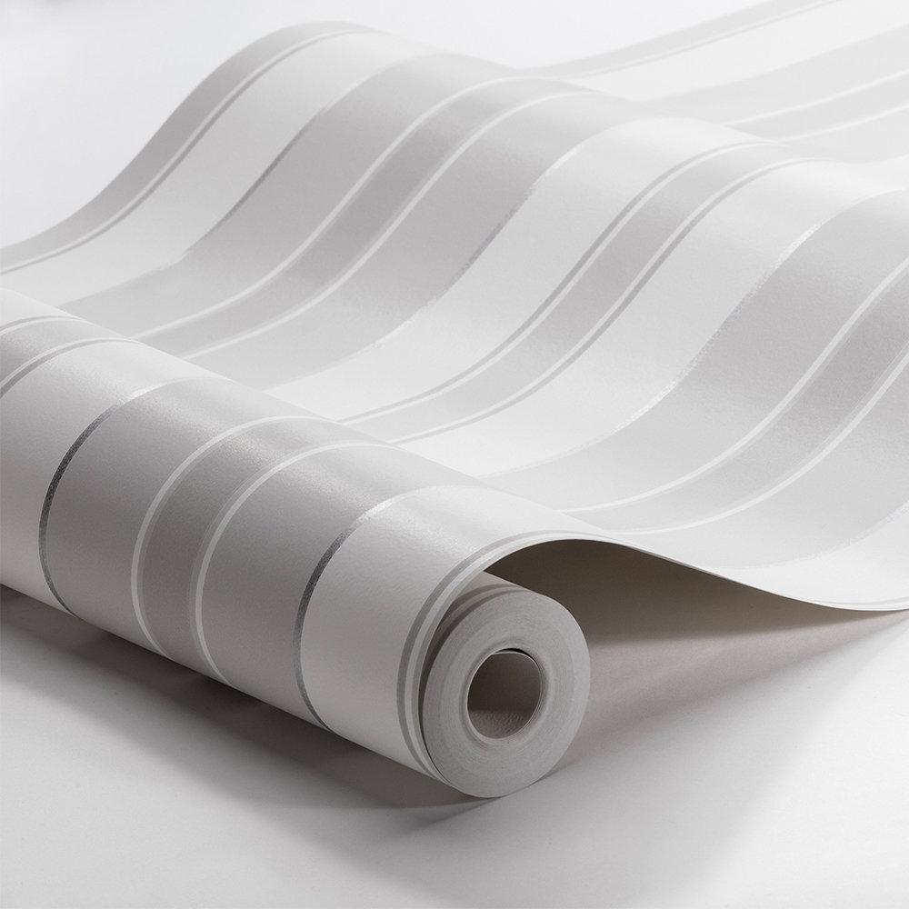 Boråstapeter Stockholm Stripe White and Grey Wallpaper - Product code: 6876
