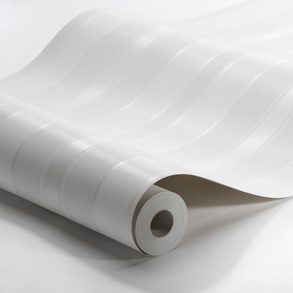 Boråstapeter Stockholm Stripe White Wallpaper - Product code: 6877