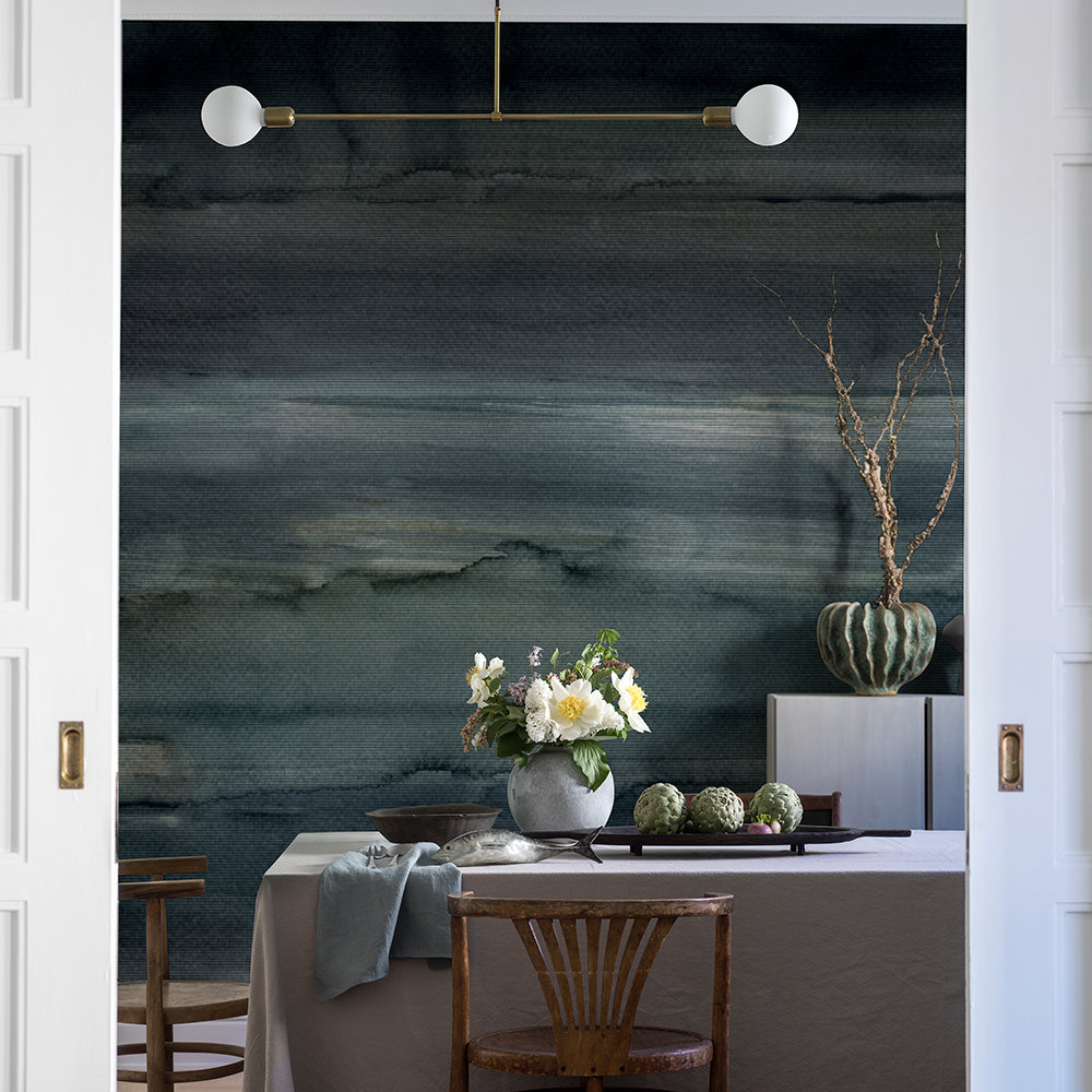Northern Sky Stripe Mural - Dark Green and Blue - by Boråstapeter