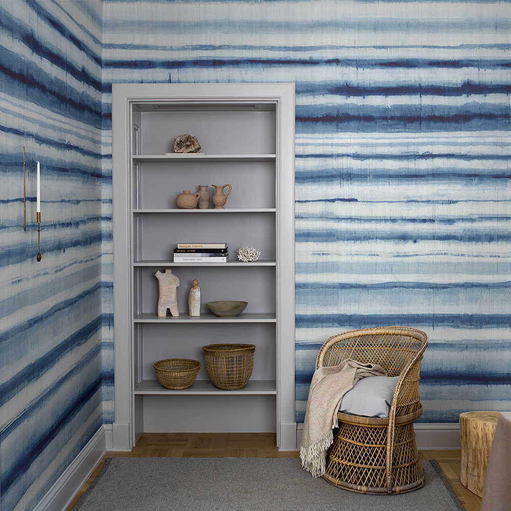 Habotai Stripe Mural - Blue Ink - by Boråstapeter