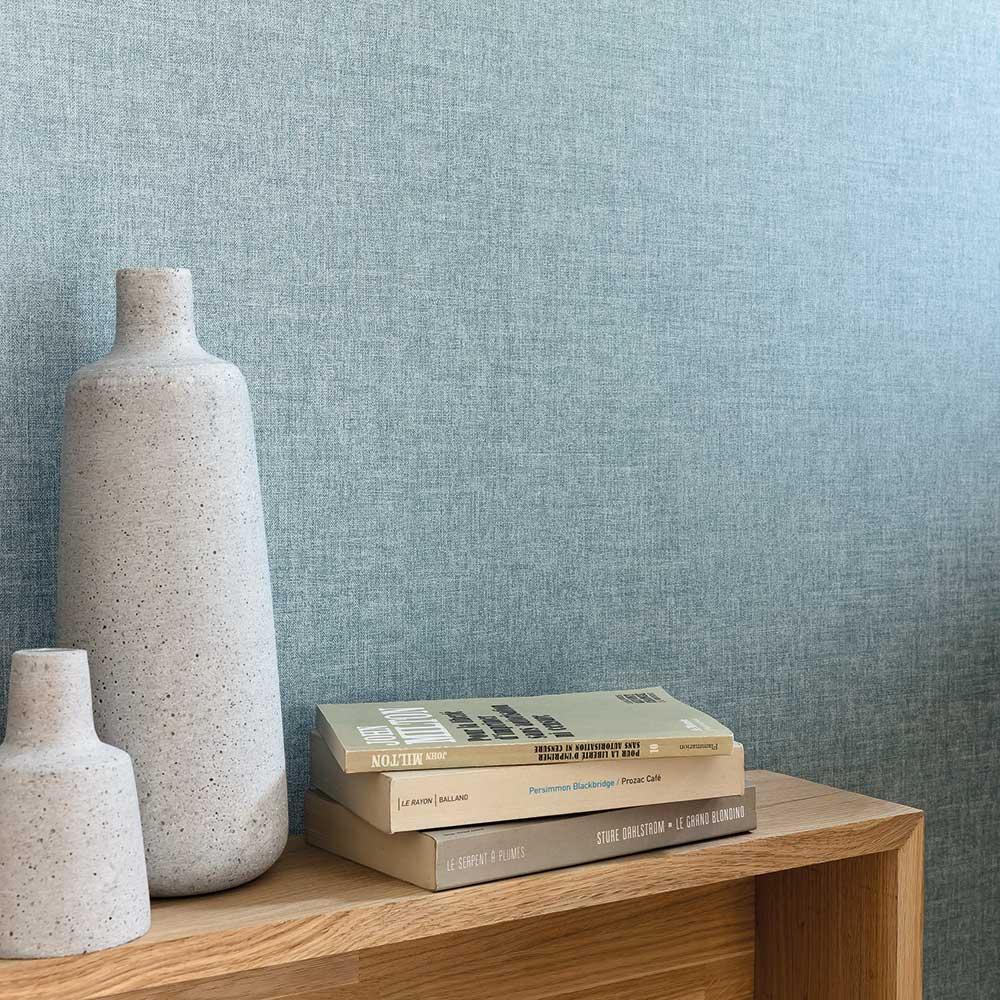 Linen Wallpaper - Blue Grey - by Caselio