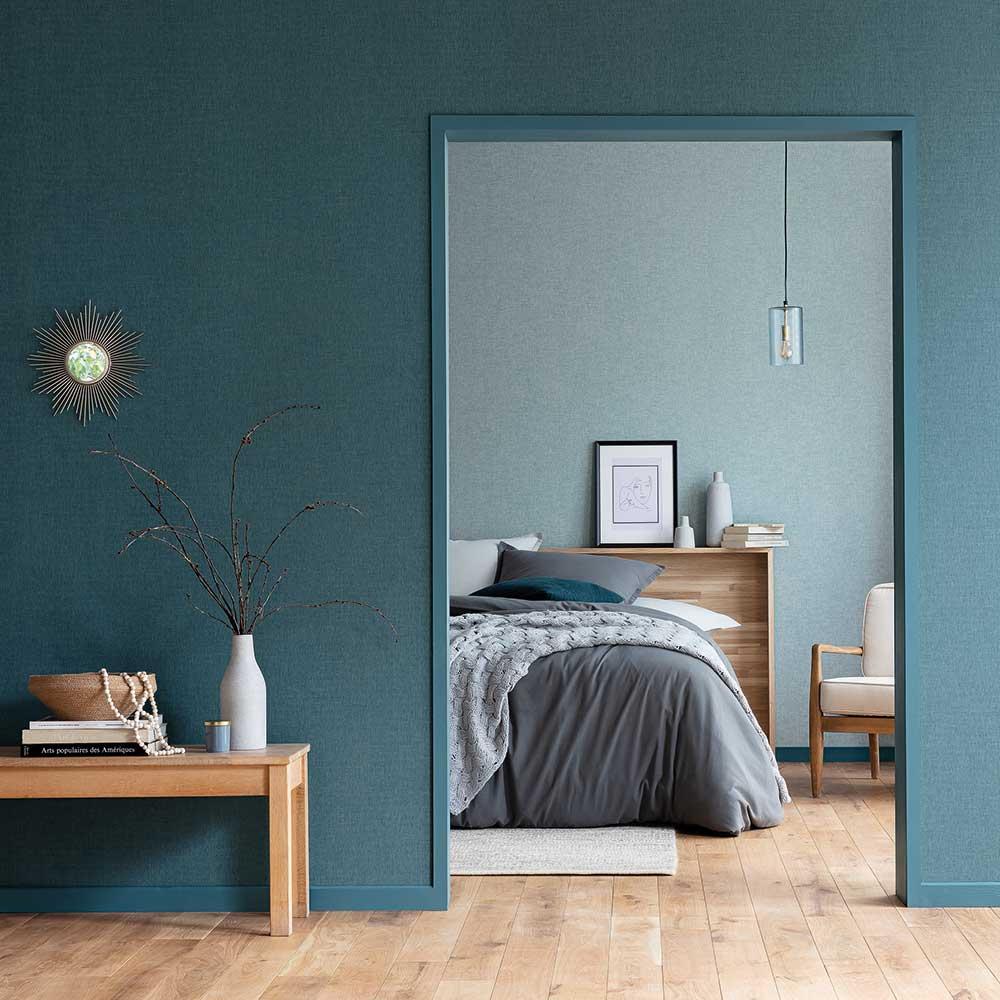 Linen Wallpaper - Teal - by Caselio