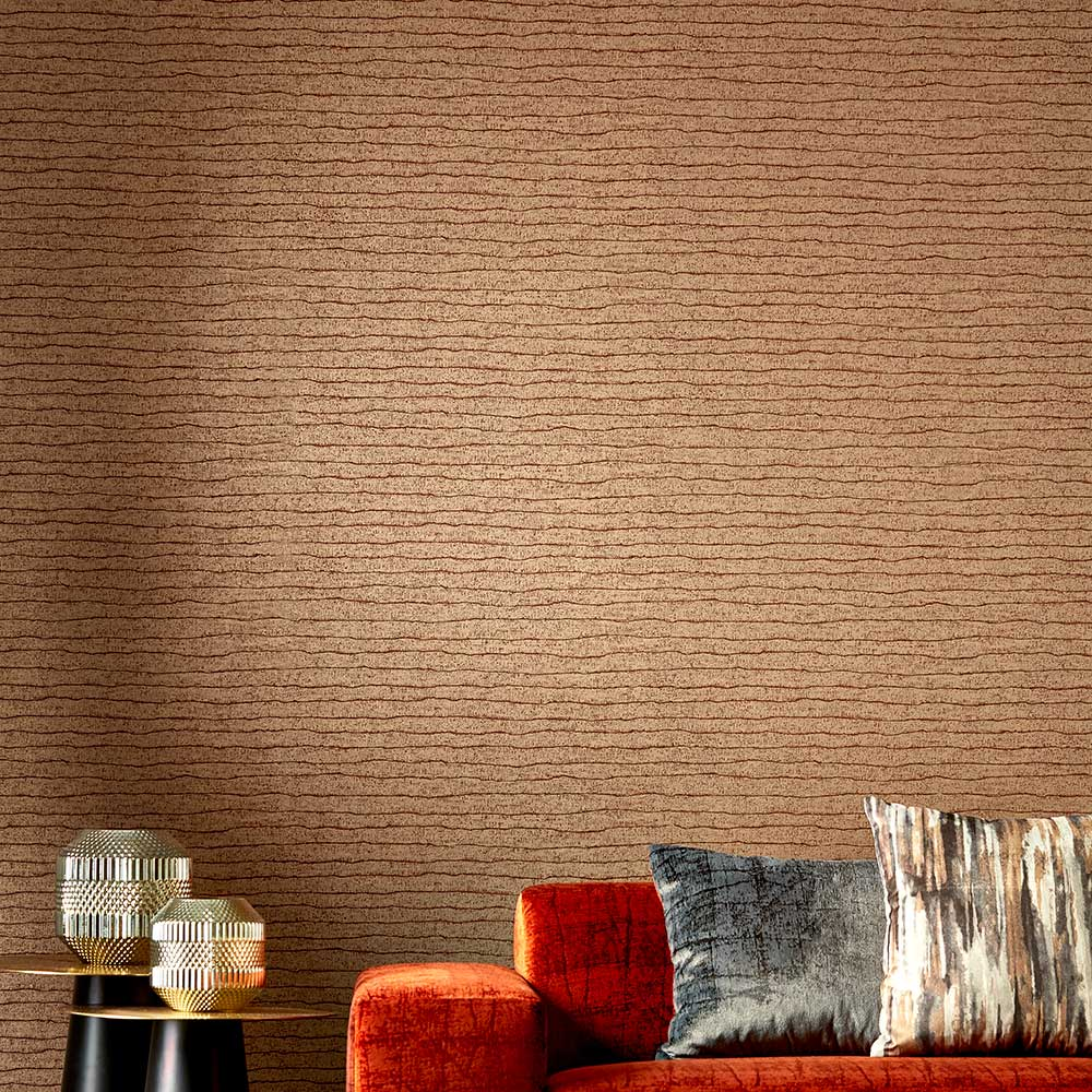 Nisiros Wallpaper - Gold and Cinnabar - by Anthology