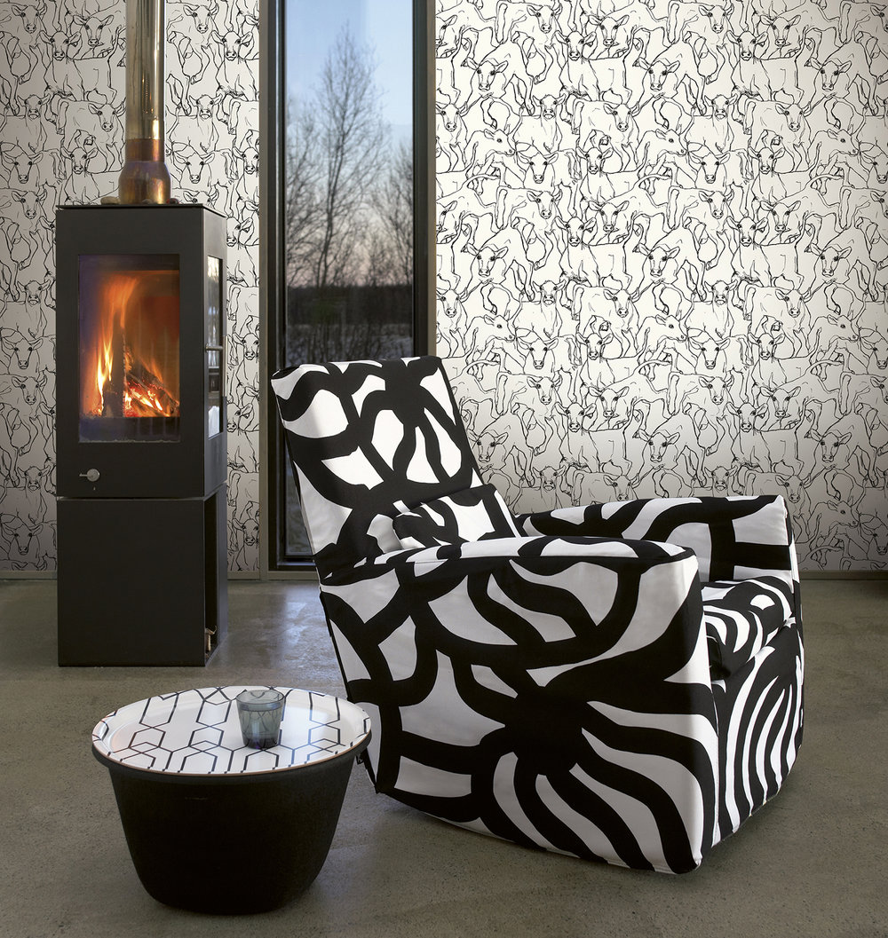 Marimekko Iltavilli Black & White Wallpaper - Product code: 14106