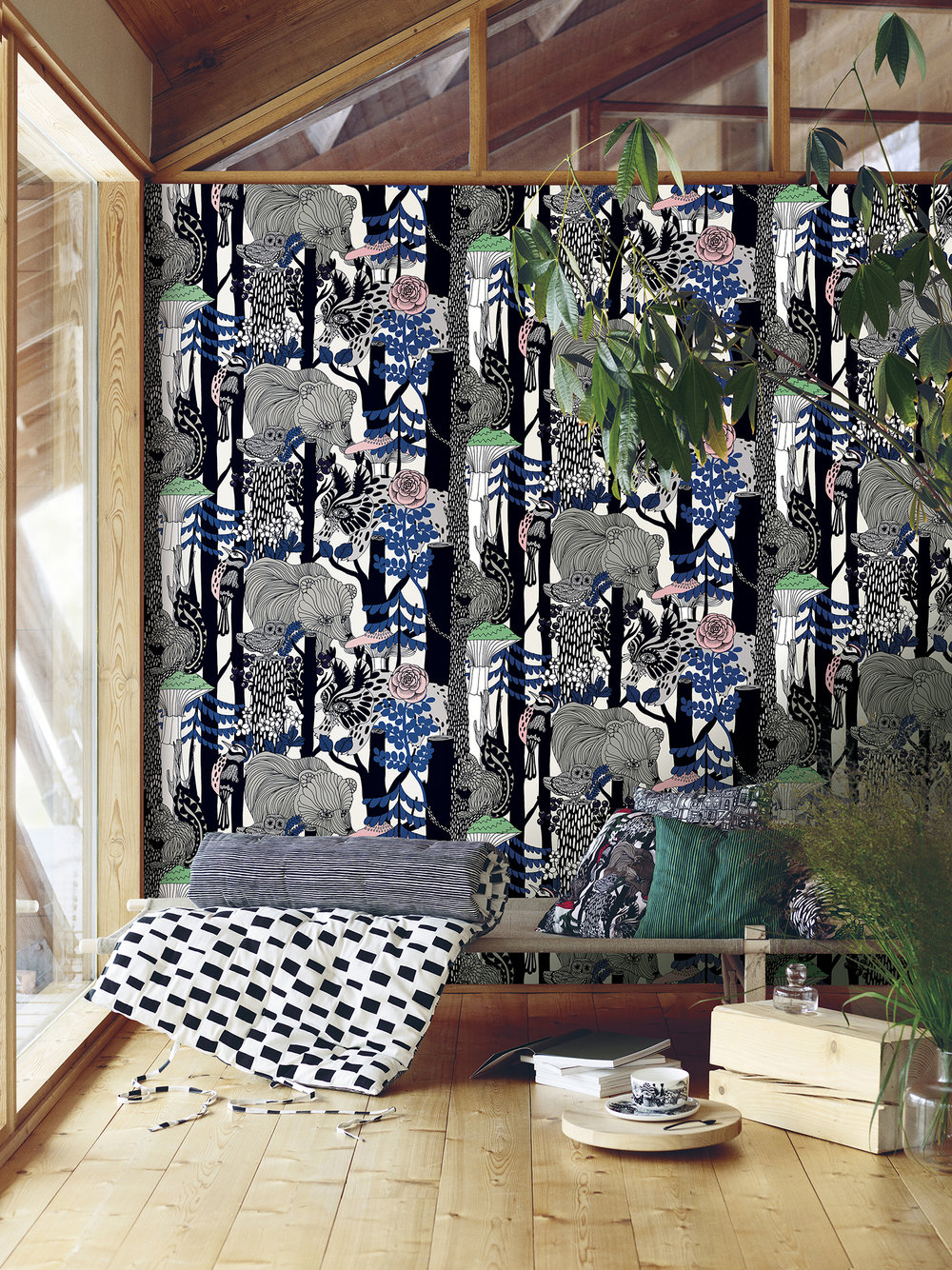 Pikkuveljekset Wallpaper - Muted Blue - by Marimekko