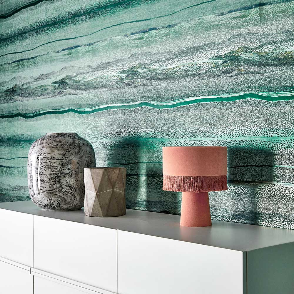 Vitruvius Wallpaper - Chrysocolla and Apatite - by Anthology