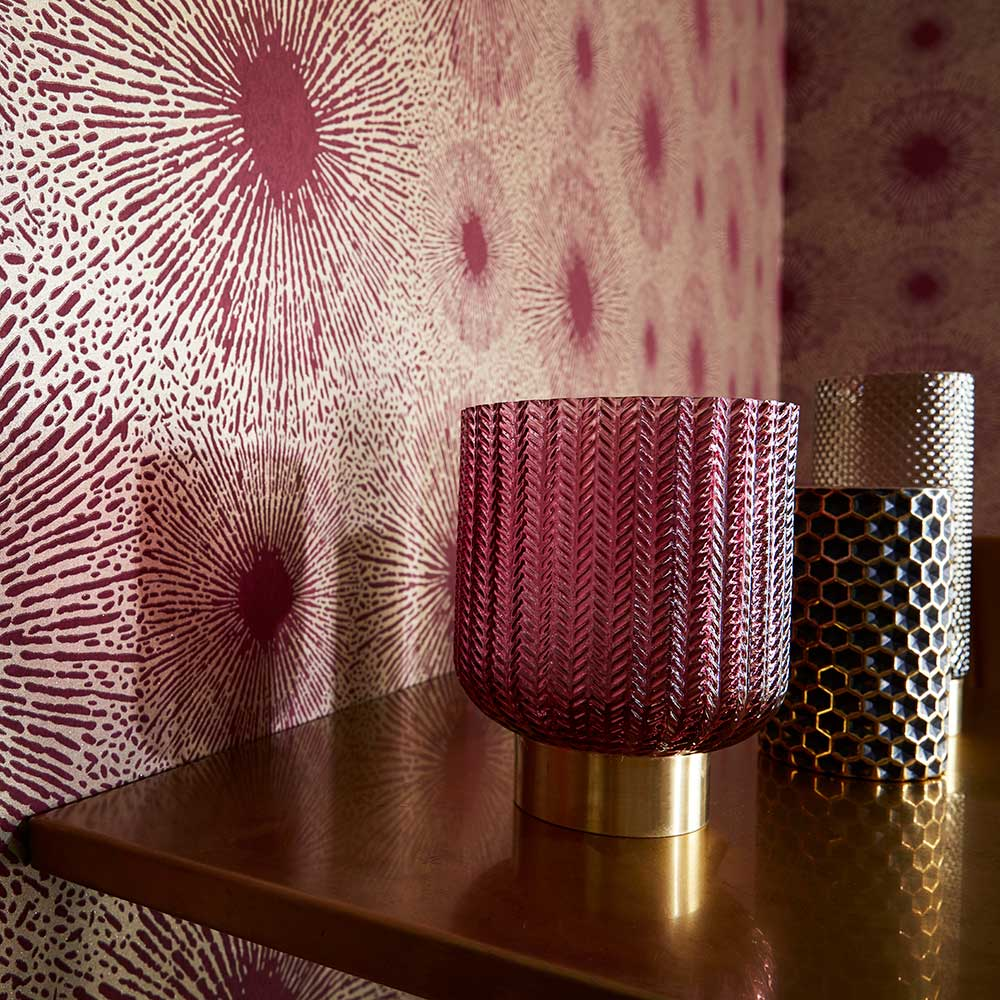 Perlite Wallpaper - Ruby and Antique Brass - by Anthology