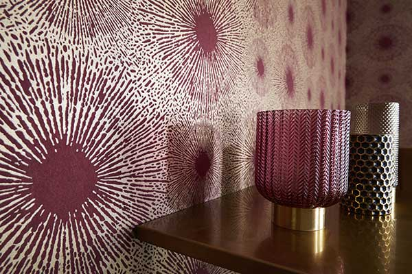 Anthology Perlite Ruby and Antique Brass Wallpaper