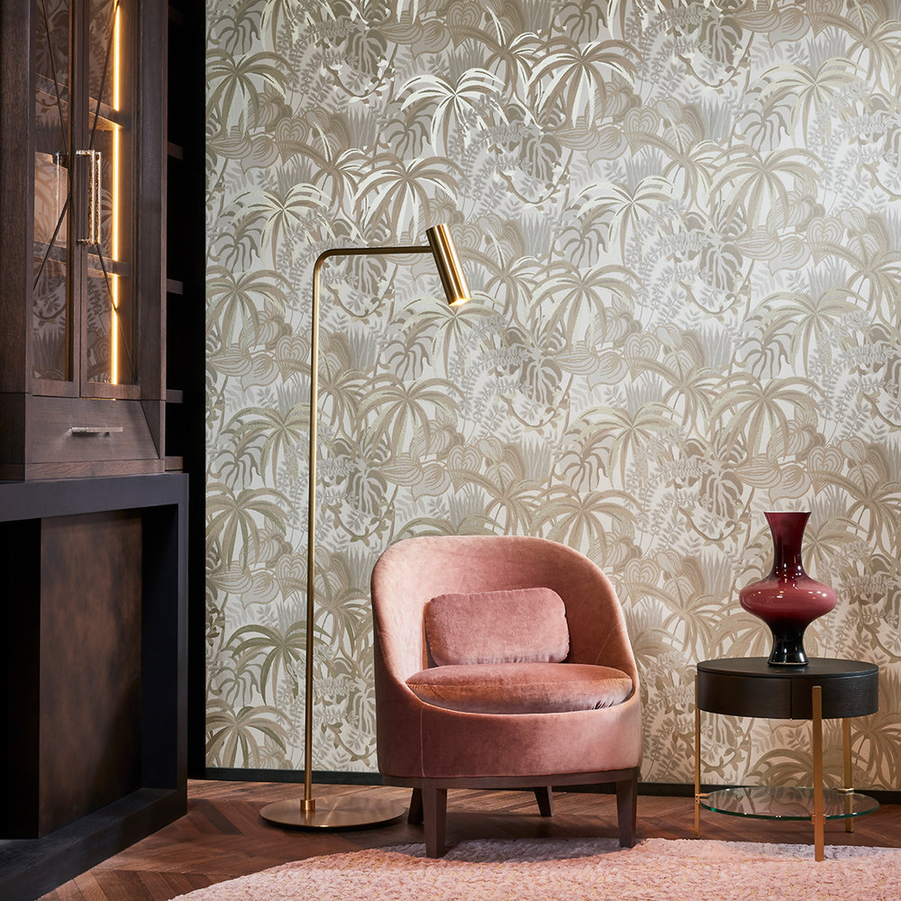 Greenery Wallpaper - Grey / Muted Gold - by Hooked on Walls