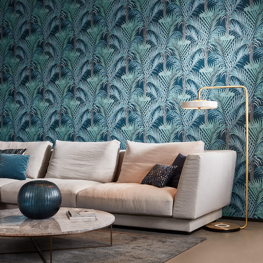 Hooked on Walls Palma Dark Blue Wallpaper - Product code: 36532