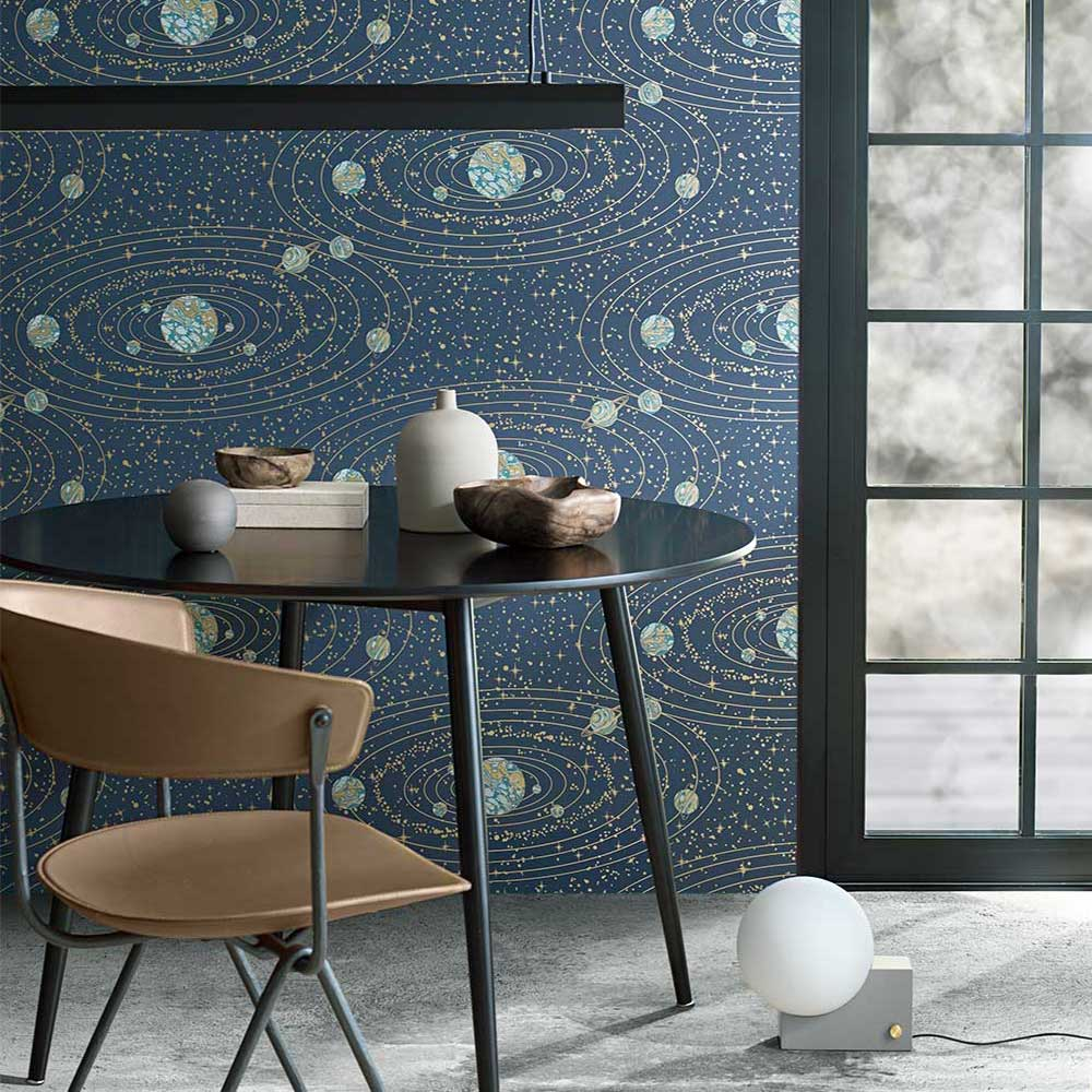 Engblad & Co Orbit Dark Blue and Gold Wallpaper - Product code: 8801