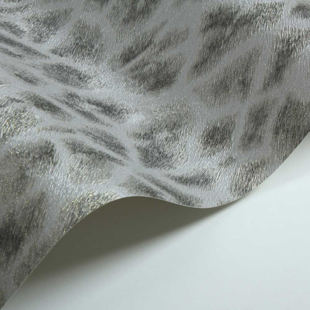 Giraffe Faux Fur Wallpaper - Gold/ Grey - by Albany