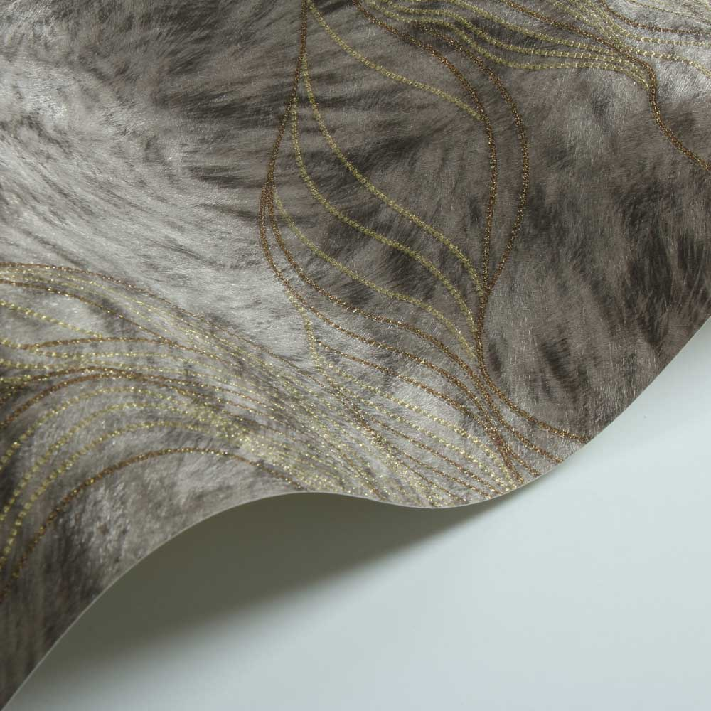 Wave Fur Effect Wallpaper - Dark Coffee - by Albany
