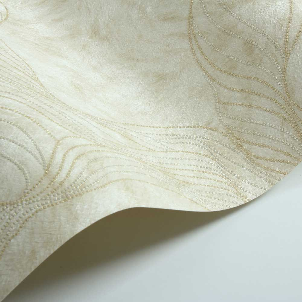 Wave Fur Effect Wallpaper - Light Yellow - by Albany