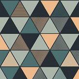 Engblad & Co Triangular Black, Blue and Gold Wallpaper - Product code: 8809