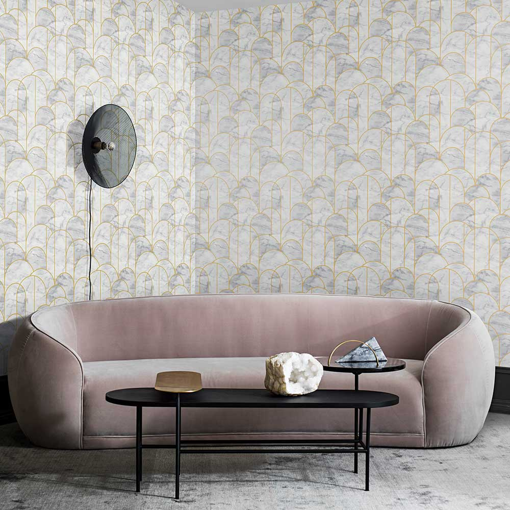 Arch Wallpaper - Grey and White - by Engblad & Co