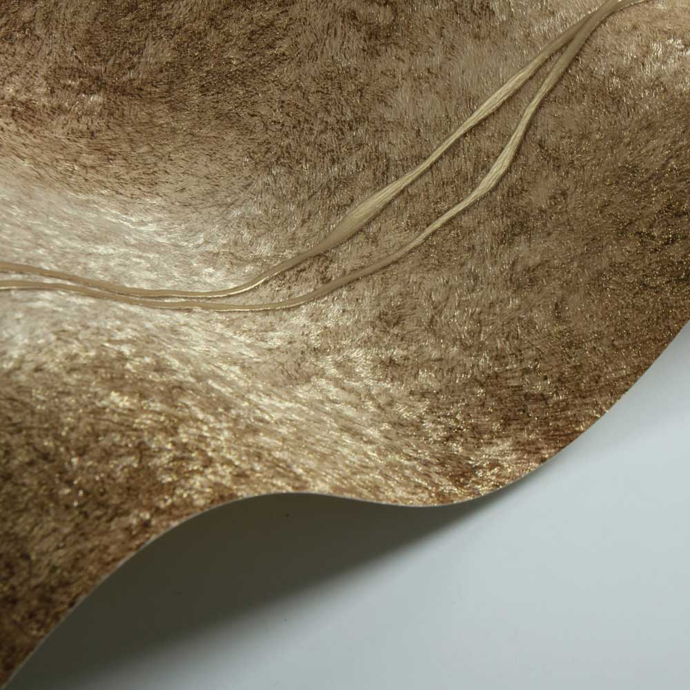 Fur Line Effect Wallpaper - Gold/ Brown - by Albany