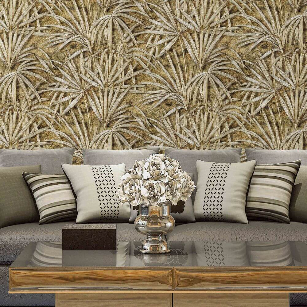 Palm Tree Effect Wallpaper - Gold/ Dark Coffee - by Albany