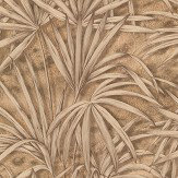 Albany Palm Tree Effect Gold/ Brown Wallpaper