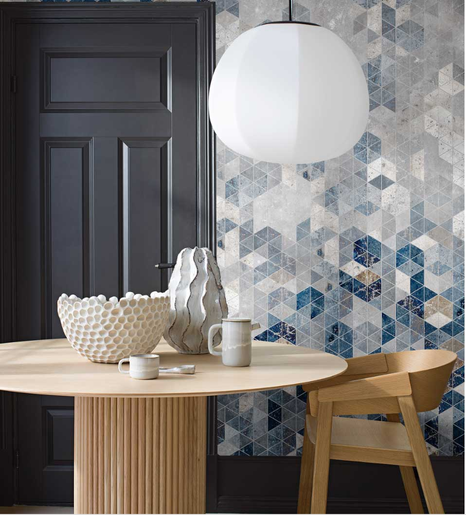 Graphic Wall Mural - Blue and Grey - by Engblad & Co