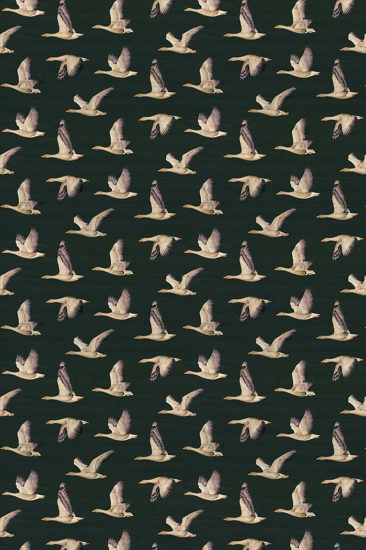 Sanderson Elysian Geese Forest / Fig Fabric - Product code: 226519