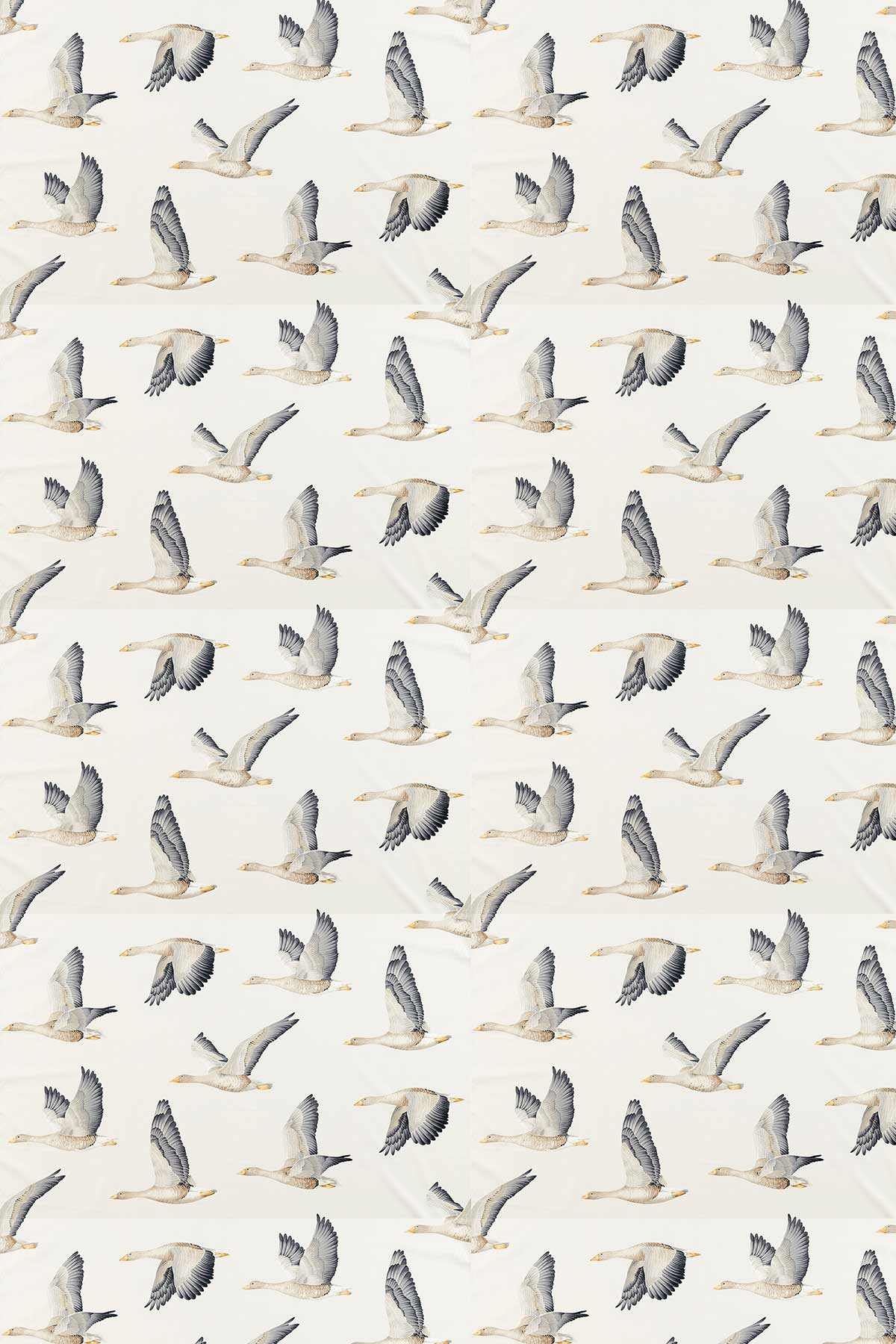 Sanderson Elysian Geese Silver / Chalk Fabric - Product code: 226520