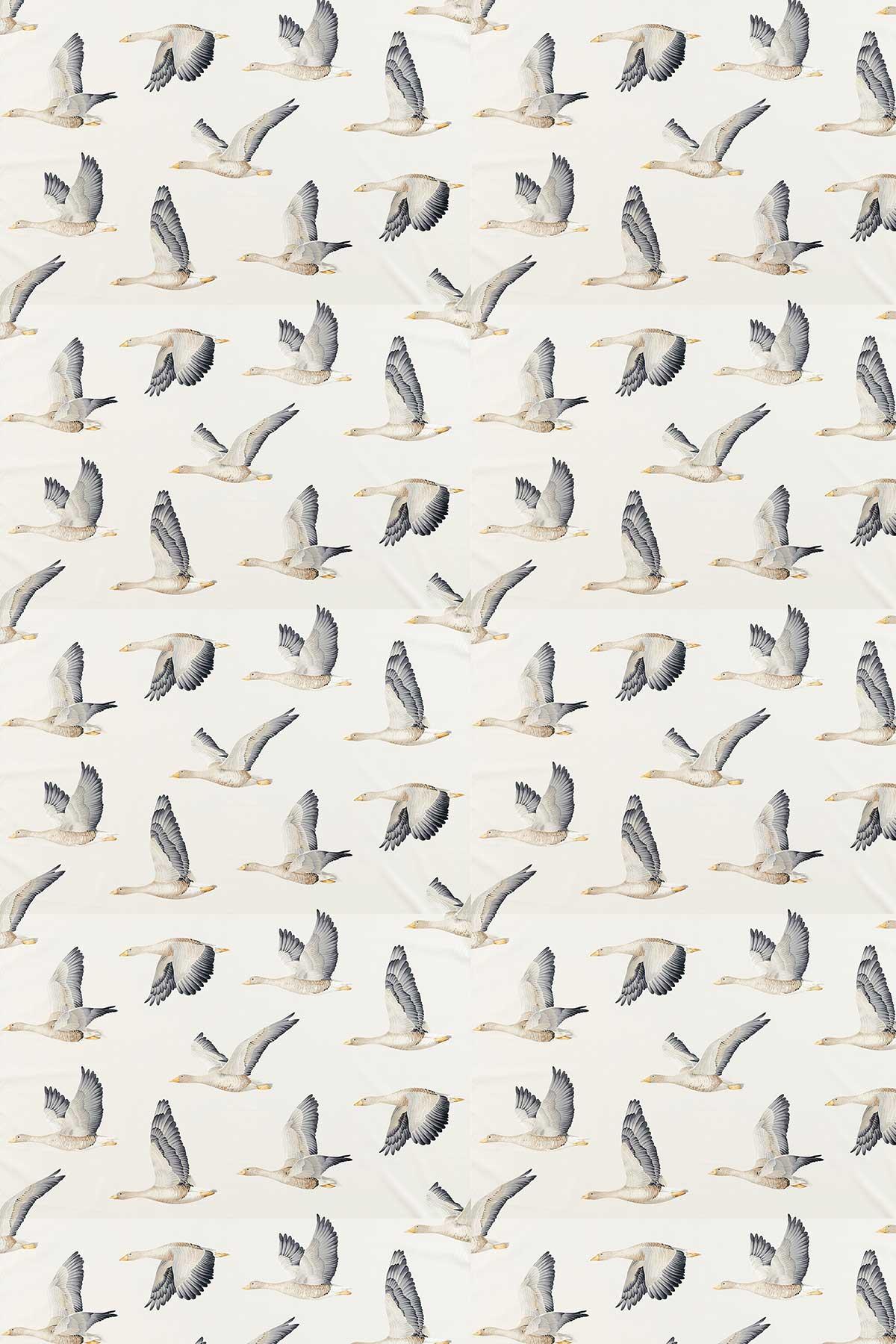 Elysian Geese Fabric - Silver / Chalk - by Sanderson