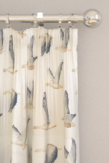 Sanderson Elysian Geese Silver / Chalk Curtains - Product code: 226520