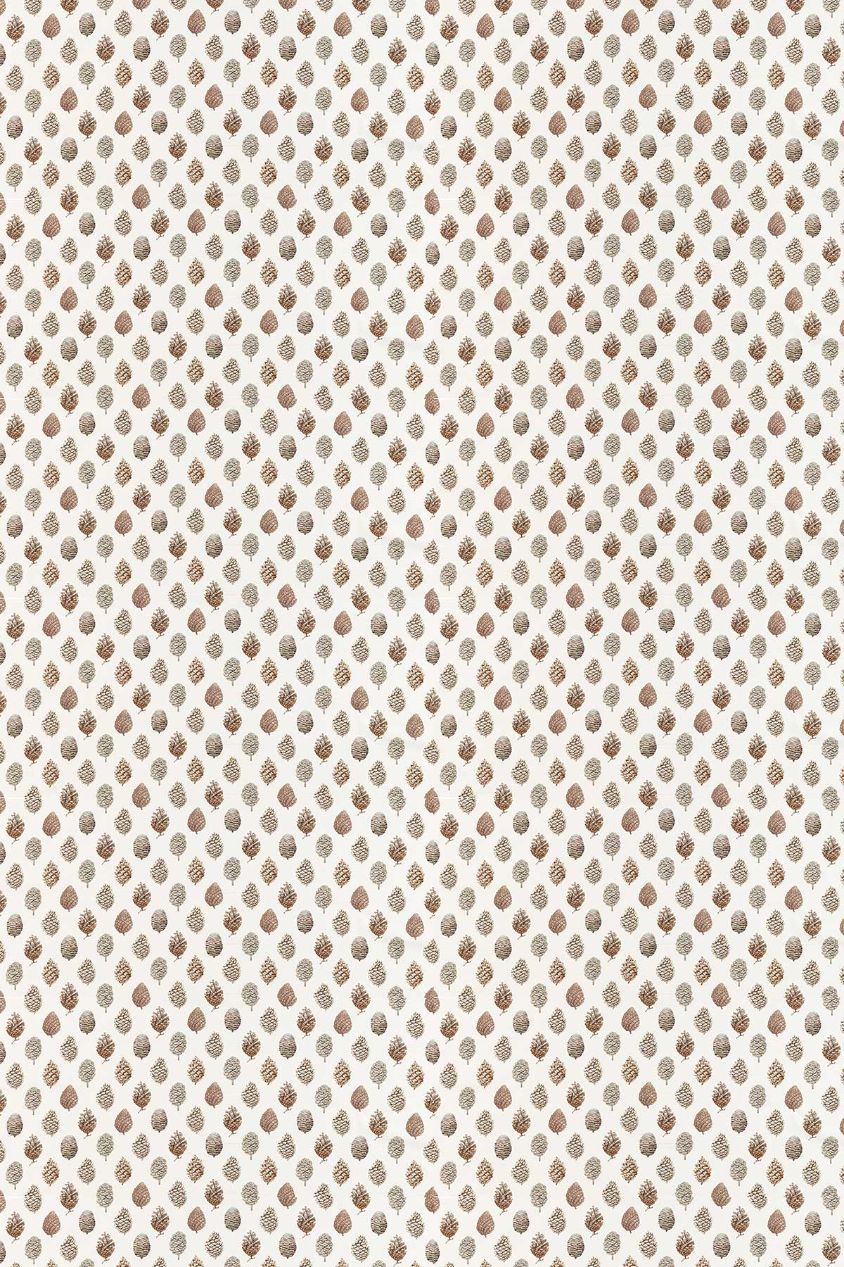 Pine Cones Fabric - Briarwood / Cream - by Sanderson