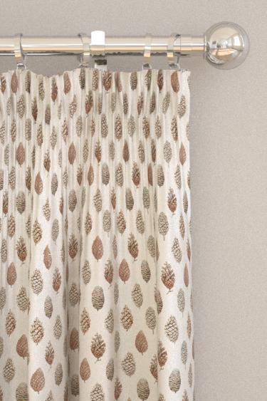 Sanderson Pine Cones Briarwood / Cream Curtains - Product code: 226527