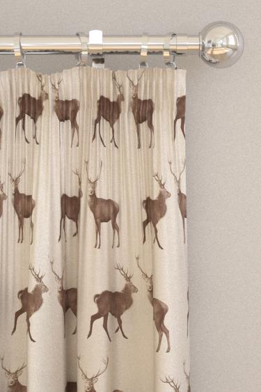 Sanderson Evesham Deer Linen / Chalk Curtains - Product code: 226528