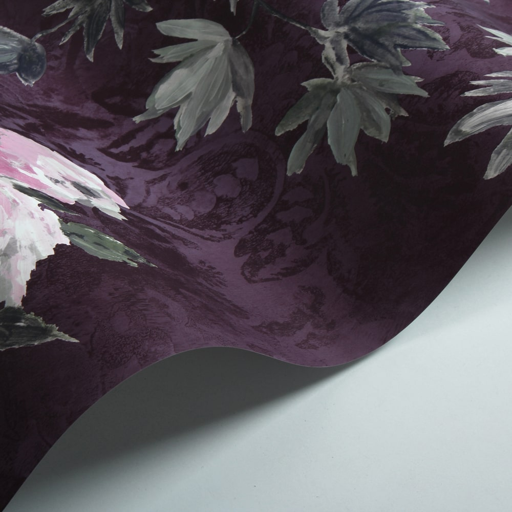 Floreale Wallpaper - Damson - by Designers Guild