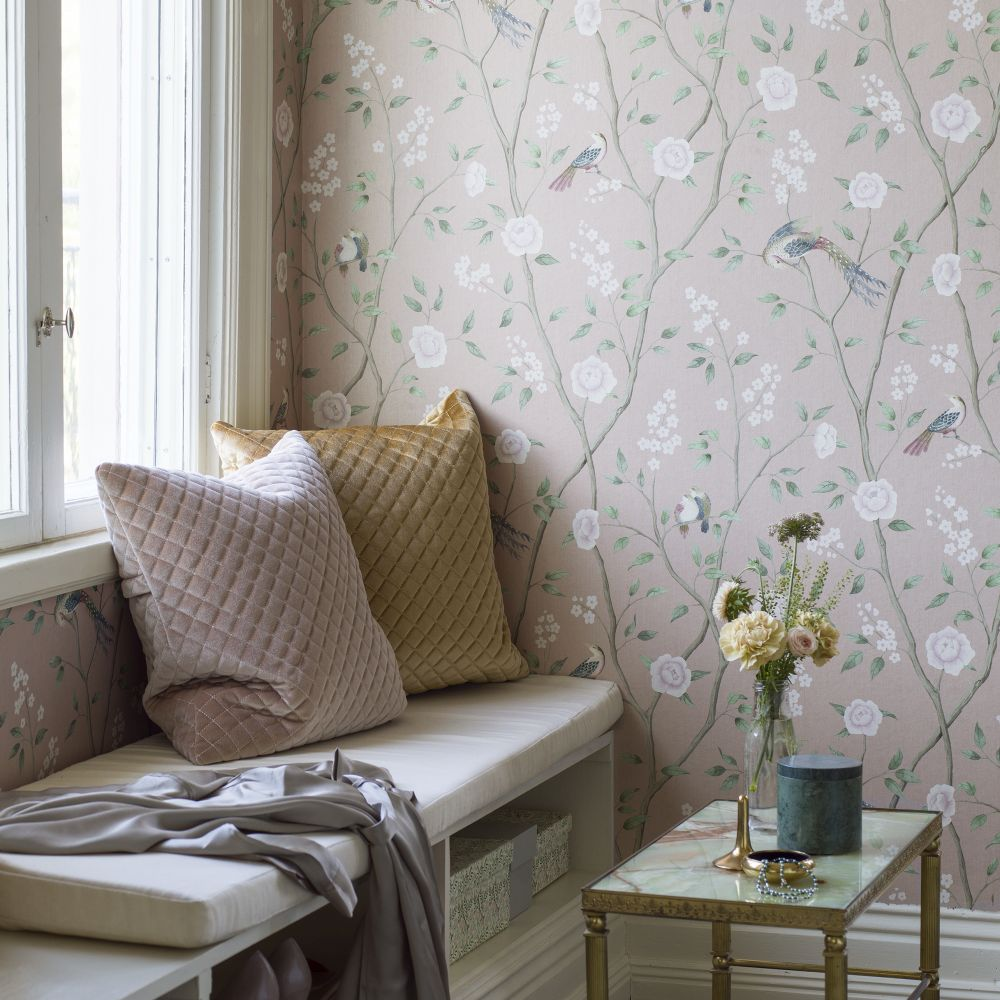 Boråstapeter Paradise Birds Pink Wallpaper - Product code: 1901