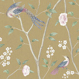 Boråstapeter Paradise Birds Yellow Wallpaper