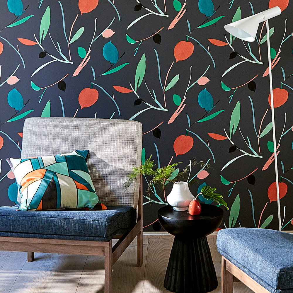 Oxalis Wallpaper - Pimento / Marine - by Scion