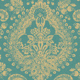 Boråstapeter Boudoir Medallion Blue & Green Wallpaper - Product code: 1916
