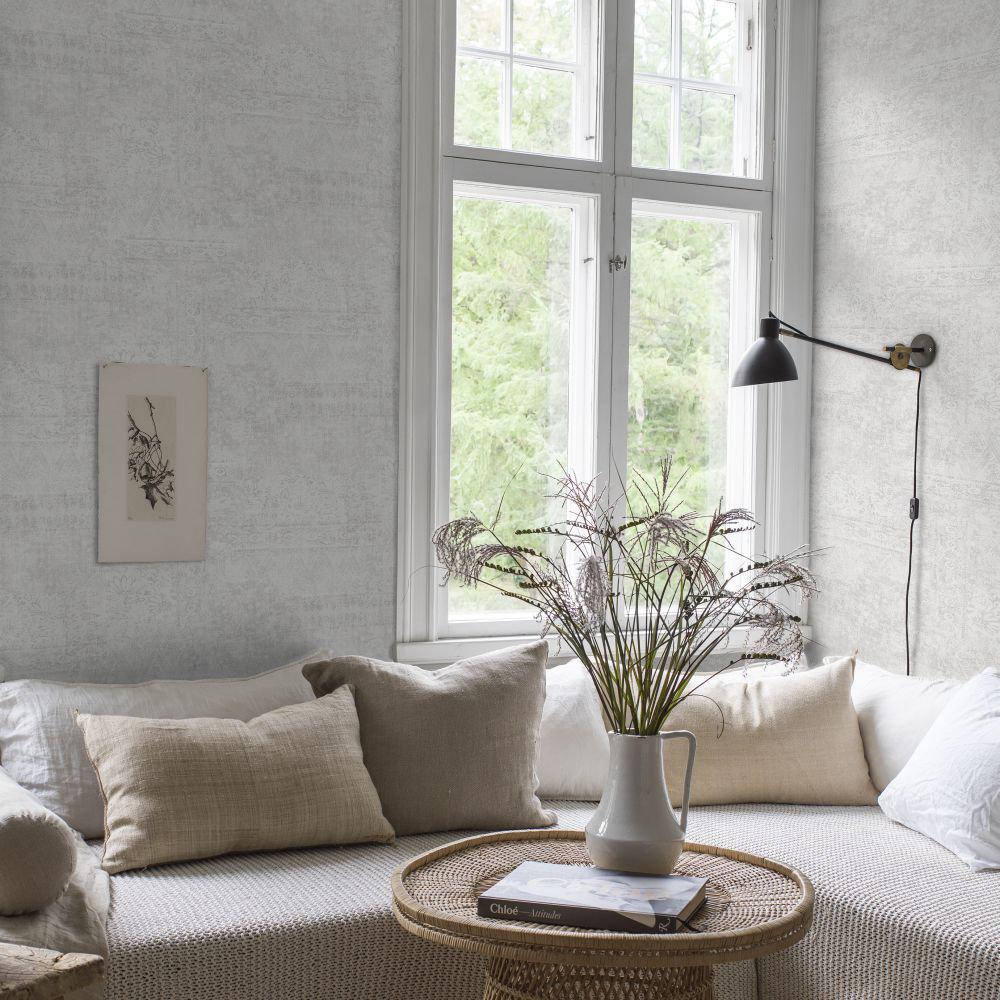Tangerine wall Wallpaper - White - by Boråstapeter