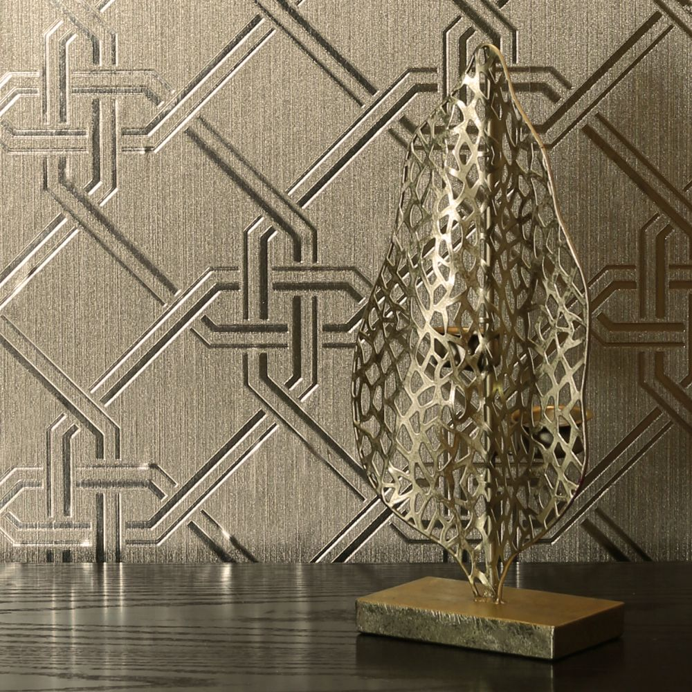 Gianni Foil Wallpaper - Champagne - by Arthouse
