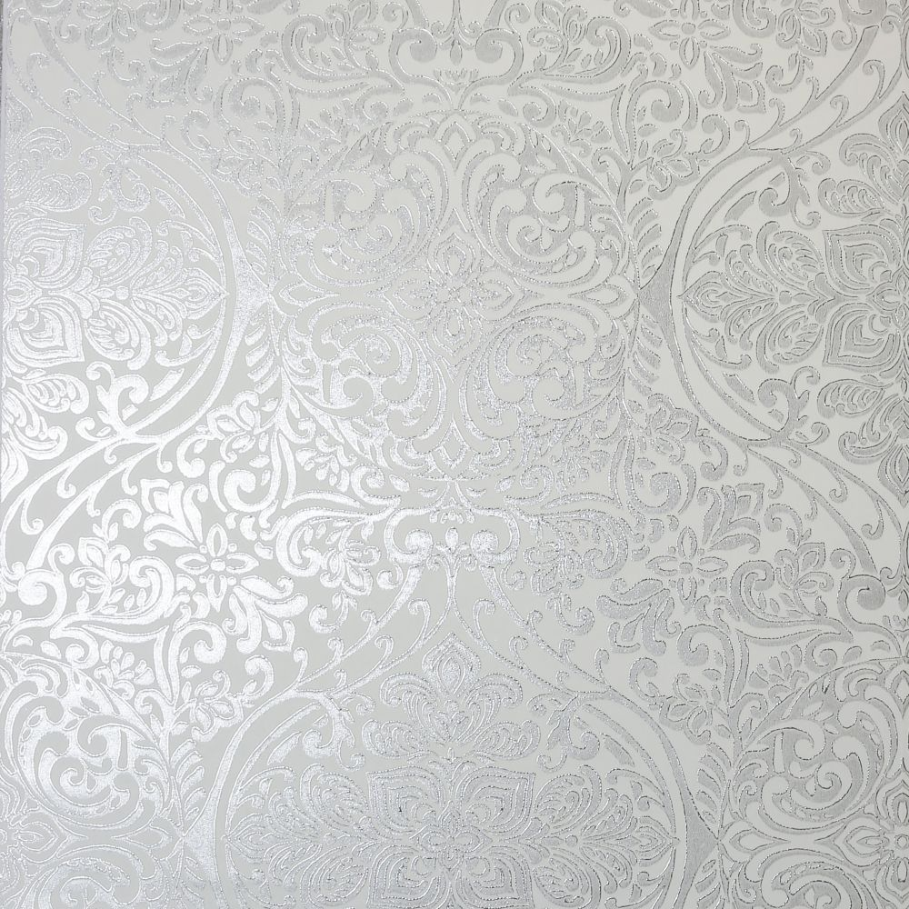 Arthouse Ogee Kiss Foil Silver Wallpaper - Product code: 903303