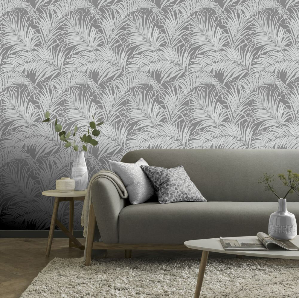 Palm Kiss Foil Wallpaper - Gunmetal Grey - by Arthouse