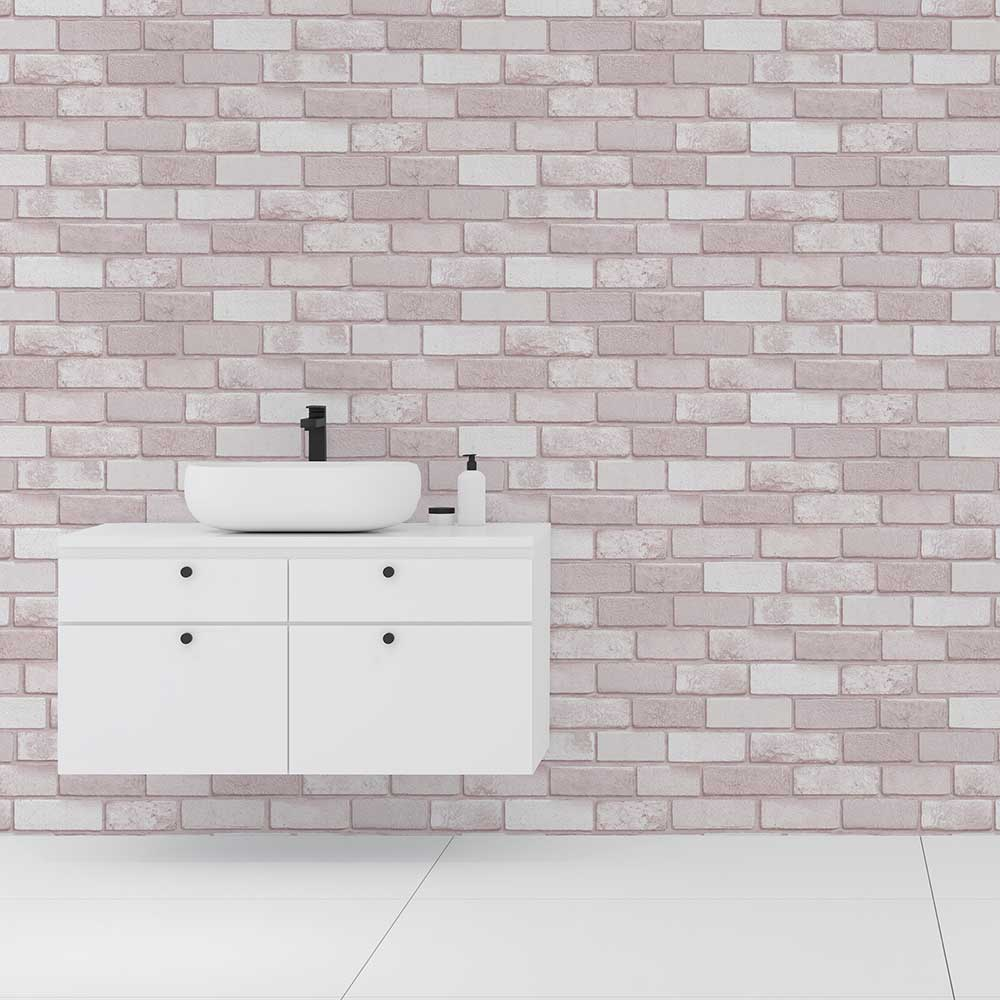Diamond Brick Wallpaper - Pink - by Arthouse