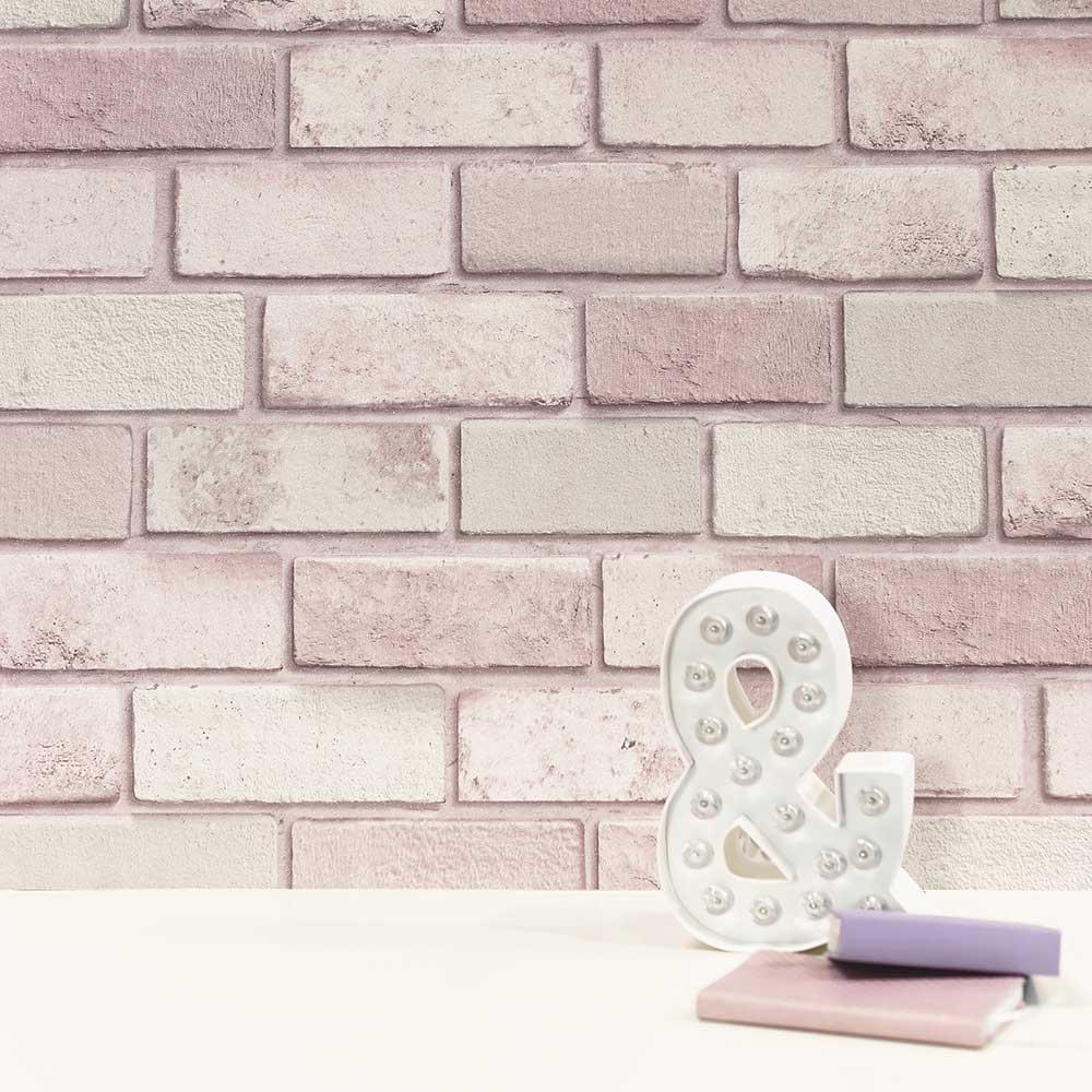 Diamond Brick Wallpaper - Pink - by Arthouse