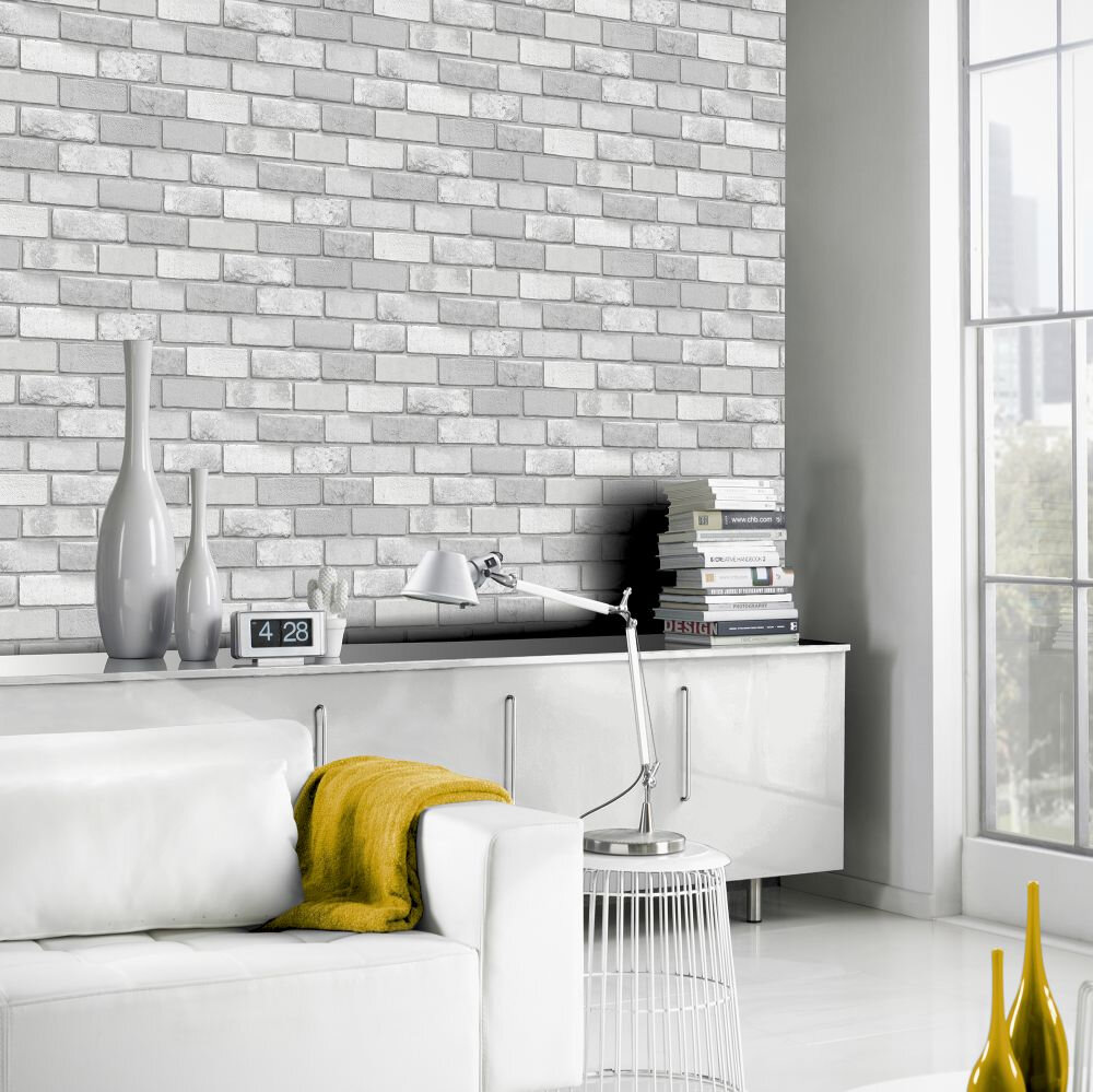 Diamond Brick Wallpaper - Silver - by Arthouse