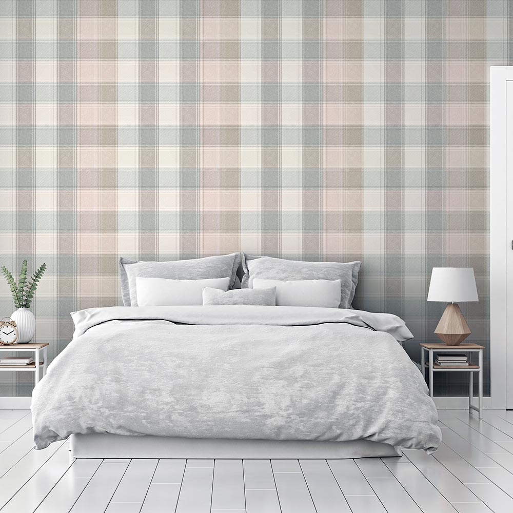 Country Check Wallpaper - Pink - by Arthouse