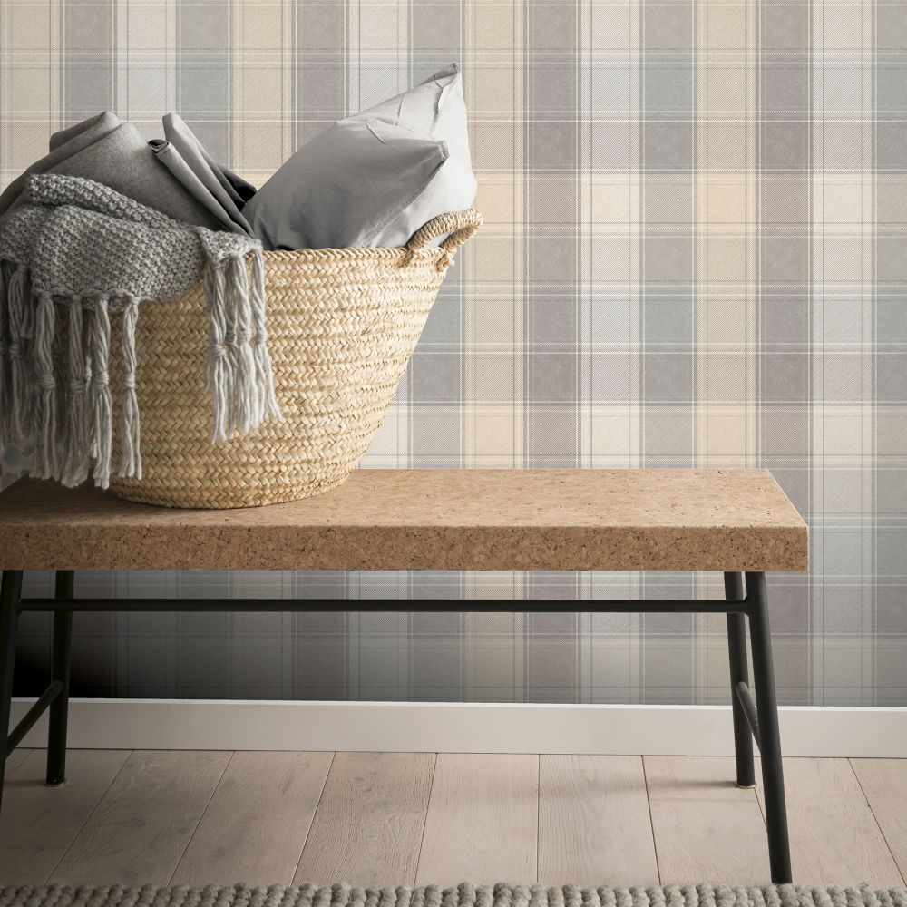 Arthouse Country Check Grey Wallpaper - Product code: 901902