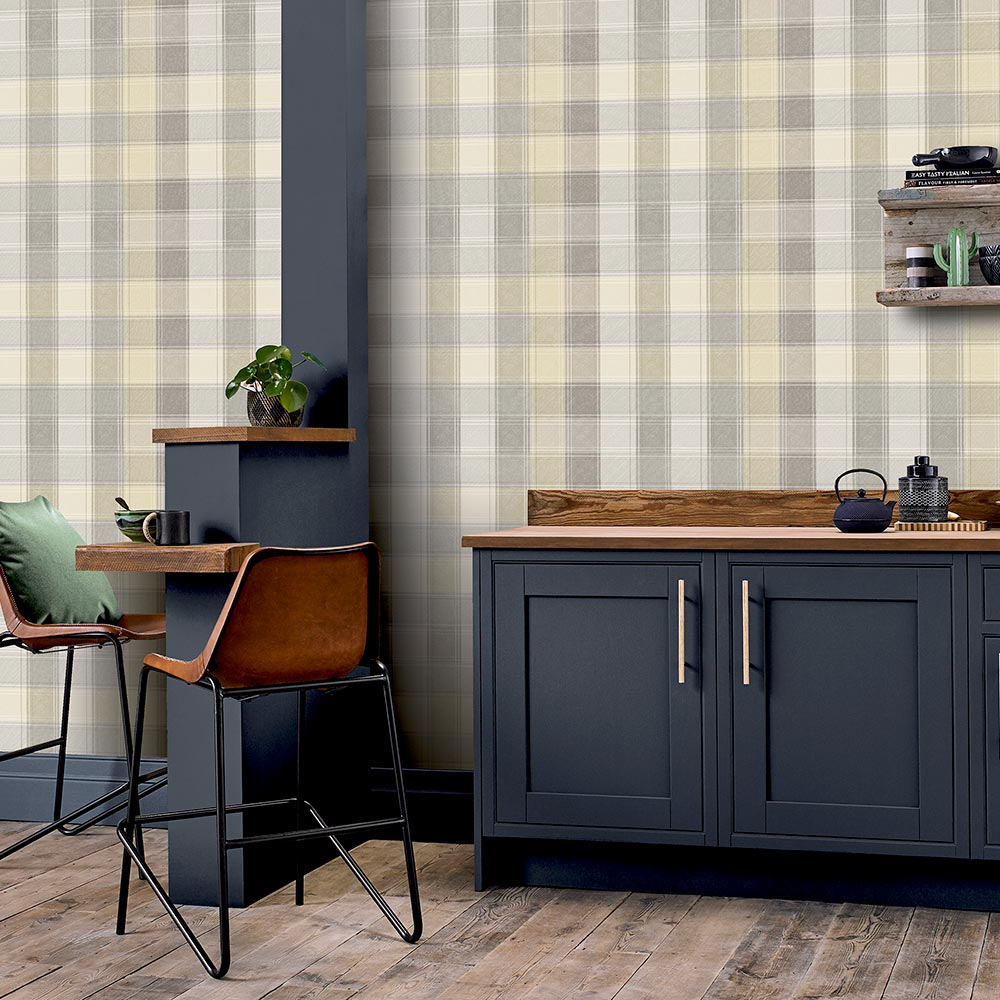 Country Check Wallpaper - Grey - by Arthouse
