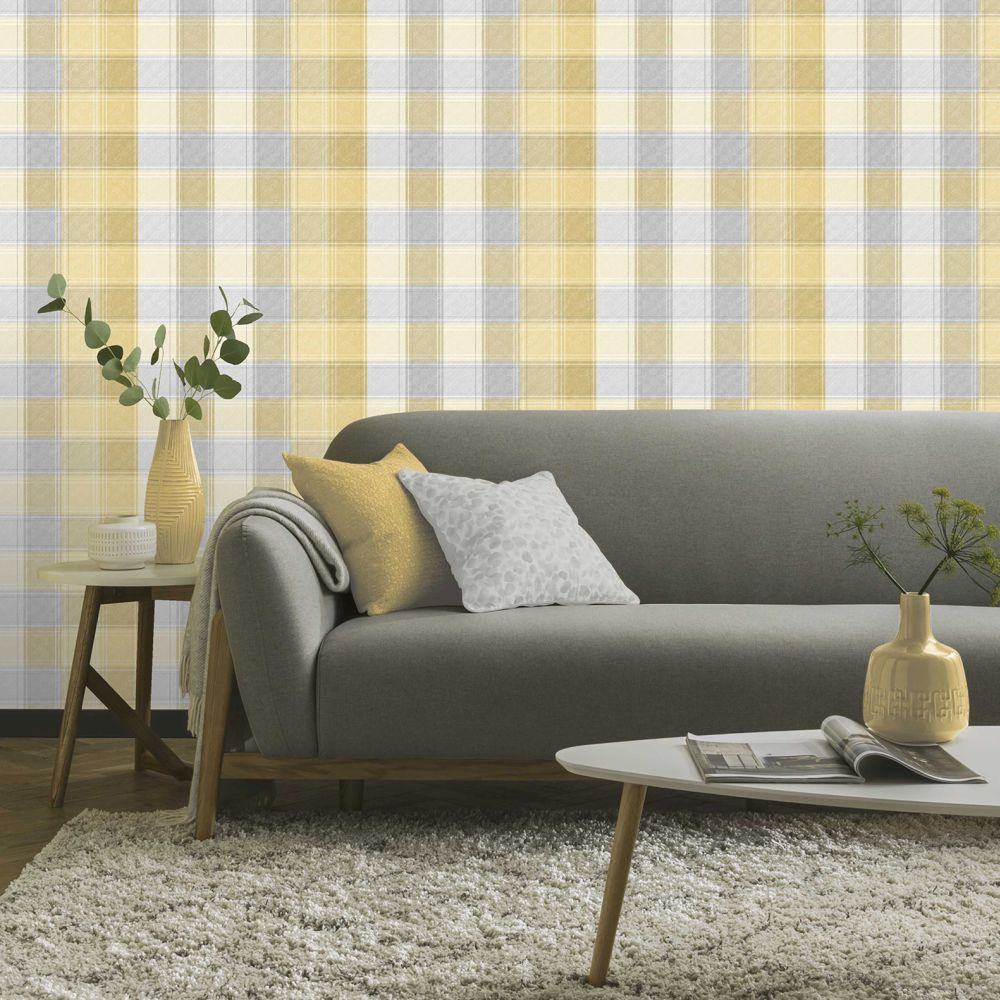 Country Check Wallpaper - Ochre - by Arthouse