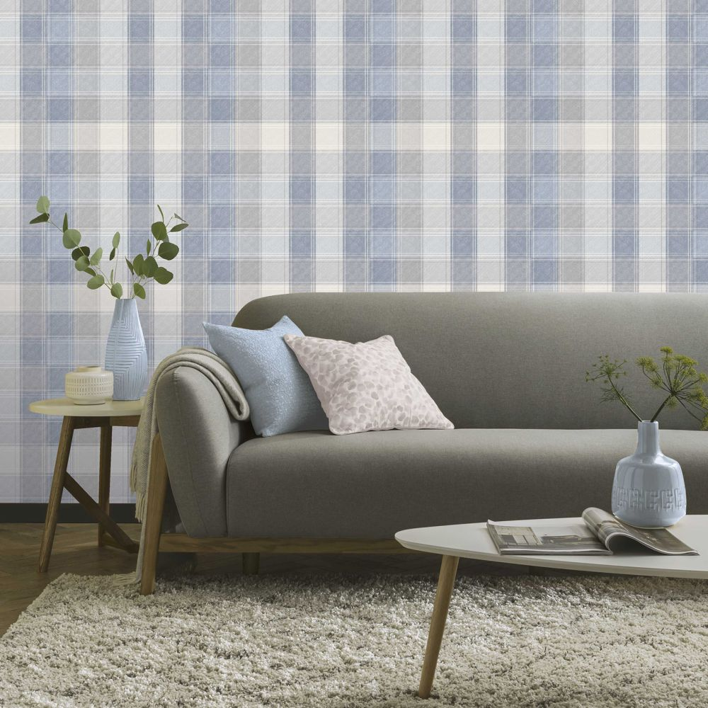 Country Check Wallpaper - Denim - by Arthouse