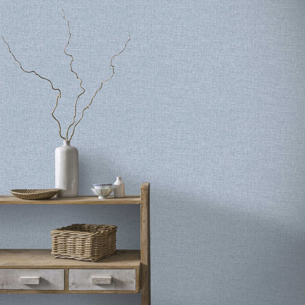 Linen Texture Wallpaper - Denim - by Arthouse