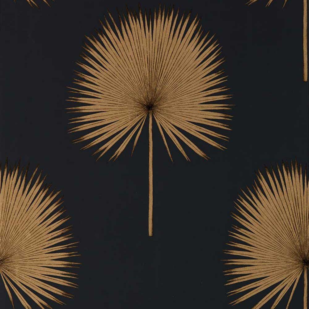 Sanderson Fan Palm Charcoal / Gold Wallpaper main image